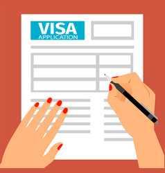 Woman hands filling out visa application vector