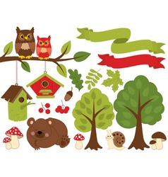 Summer forest set vector