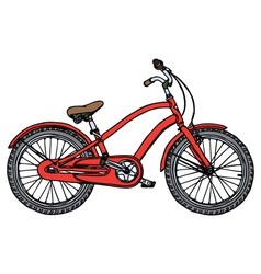 Old red bicycle vector