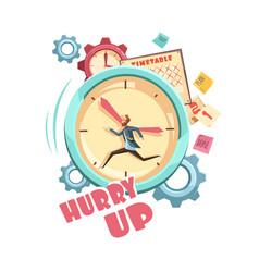 Time control retro cartoon design vector