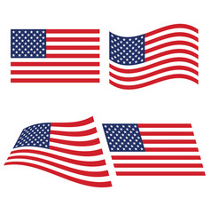 Flag of the united states in various variants of vector