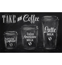 Set of coffee drinking cup sizes chalk vector