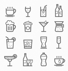 Beverage symbol line icon set vector