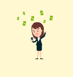 businesswoman use phone getting income vector image
