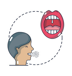 man with sore throat infection symptoms virus vector image