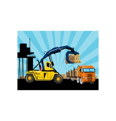Forklift hoist crane load timber logging truck vector