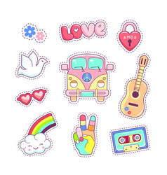 Hippie style badges patches and stickers vector
