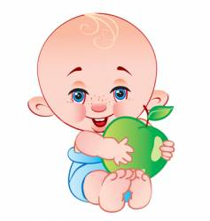 The child with an apple vector