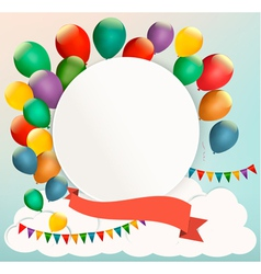 Retro birthday background with colorful balloons vector