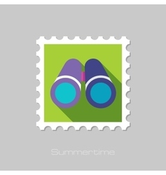 Binocular flat stamp with long shadow vector