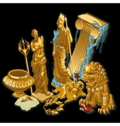Golden greek symbols statues of people vector