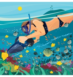 Girl exploring the underwater world vector