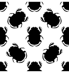 Seamless pattern with dor-beetle geotrupidae vector