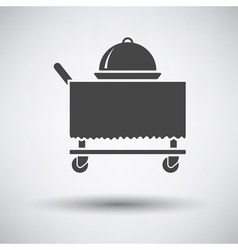 Restaurant cloche on delivering cart icon vector image