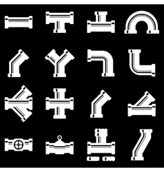 White pipe fittings icon set vector