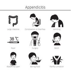 Appendicitis symptoms icons set monochrome vector