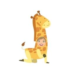 Boy wearing giraffe animal costume vector