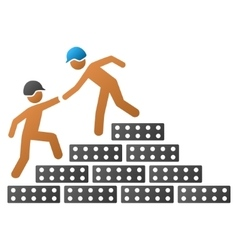 Builder stairs help gradient icon vector