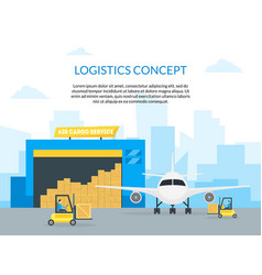 cartoon air cargo transportation delivery service vector image vector image