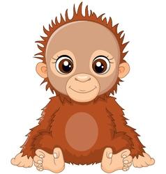 Cartoon baby orangutan sitting vector