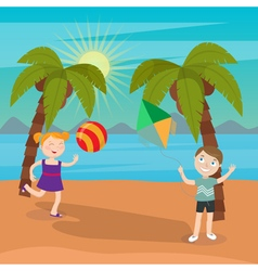 Children sea vacation girl playing ball on beach vector