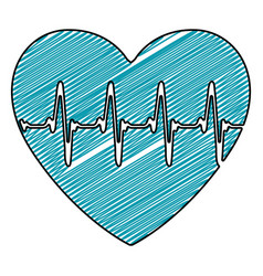Color pencil drawing of heartbeat icon vector