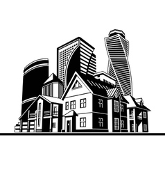 Cottages and skyscrapers vector
