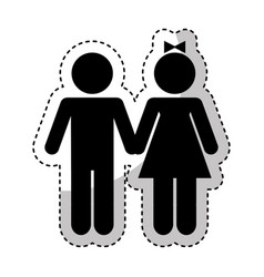 couple figure silhouette icon vector image