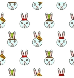 Cute blue bunny seamless baby pattern vector
