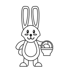 Easter bunny with basket egg thin line vector