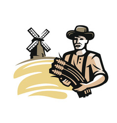 farmer with wheat vector image vector image