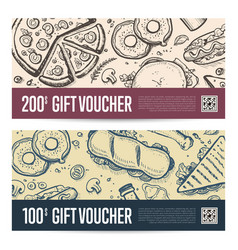 fast food restaurant gift voucher set vector image