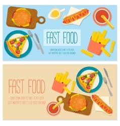 Flat design banner with fast food vector image vector image