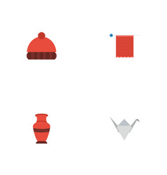 flat icons paper figure needlework pottery and vector image vector image