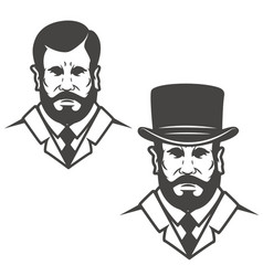 Gentleman head with vintage hat design elements vector