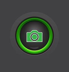Glossy dark circle photo camera button vector