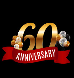 Golden 60 years anniversary template with red vector