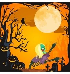 Halloween background Horror forest with woods vector image