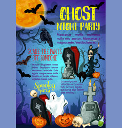 halloween trick or treat ghost party poster vector image