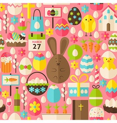 Happy Easter Holiday Flat Pink Seamless Pattern vector image vector image