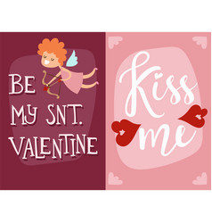 happy valentines day angel greeting card vector image vector image