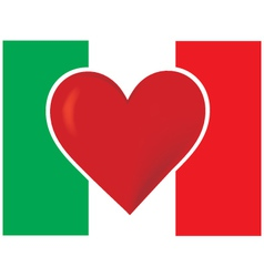 heart italy flag vector image vector image