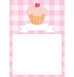 Invitation card or menu with heart cupcake vector image vector image