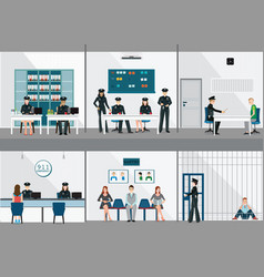 Police station interior set with office room vector