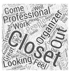 Professional closet organizer word cloud concept vector
