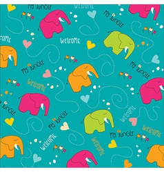 Seamless baby elephant pattern vector