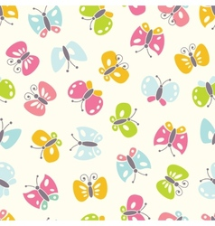 Seamless background with colorful butterfies vector image