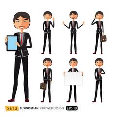 set of asian businessman character design vector image