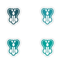 Set of paper stickers on white background penis vector image