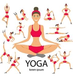 Yoga set women sketch asana girl healthy lifestyle vector